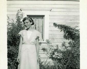 "Vintage Photo ""Outside Her Window"" Teenage Girl Snapshot Photo Old Antique Photo Black & White Photograph Found Photo Paper Ephemera - 27"