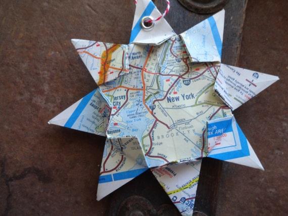 Origami Map Ornament New York NY Home Decor Wall Art Road