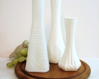 Modern White Flower Bud Vases, Diamond Faceted Milk Glass Vases, Vintage Mismatched Trio, Set of 3 ... EO Brody, Hoosier, Gift for Her