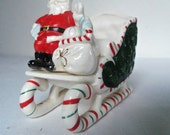 Vintage Christmas Candy Cane Santa Sleigh Planter Old Japan