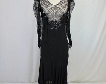 1920s Black Lace Evening Dress