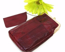 Vintage Eel Skin Wallet Burgundy Cigarette Holder Eye Glasses Case Coin Purse