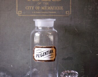 Vintage Large Clear Apothecary Pharmacy Bottle with Gold Glass Label - Pv. Gentian.