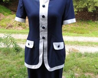 Vintage Navy Blue and White Short Sleeved Dress / 1980s Leslie Fay Dress / Career Dress / Office Dress / Navy Blue Dress / Union Made Dress