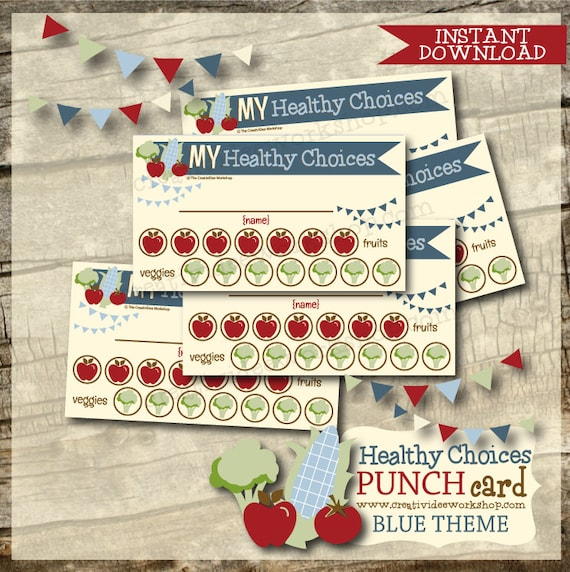 Printable Healthy Eating Punch Cards