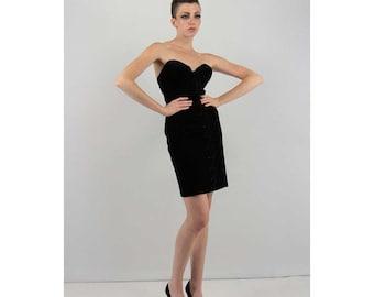 Vintage corset dress / Black velvet lace up dress / Bodycon mini / Strapless tube dress S M
