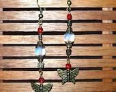 Brass Butterfly Earrings, Hand Made