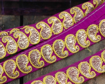 "Raspberry & Neon Paisley Embroidered Trim, Ribbon, Sari Border from India, 7/8"" x 1 yard, Festive Sparkly Summer, Craft, Decorating Supplies"