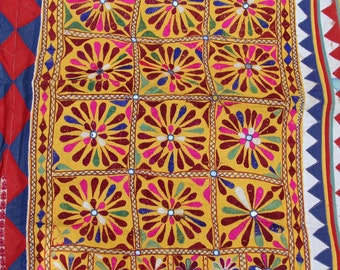 Vintage Handmade Cow Blanket, Rajasthan, India, Colorful, Geometric Tribal Decoration, Textile, Fabric, Wall Hanging, Decor, Sewing Supply