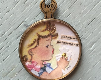 Vintage Handcrafted Pendant Girl picking petals He loves me He loves me not