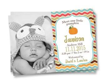 Fall Birth Announcement, Autumn Birth Announcement, Little Pumpkin Birth Announcement, Boy Birth Announcement,