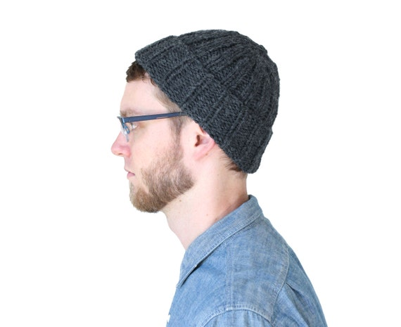 Knit Beanie in Charcoal Gray Alpaca Merino Wool Knit Hat
