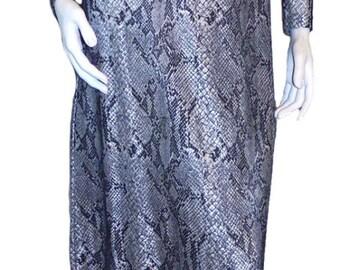 Vintage 1970s Long Python Snakeskin Print Dress Size 6
