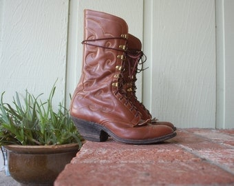 Rare Vintage Mens 7 Morgans 11i Roper Boots Boot Leather Brown Tall Lace Up Riding Boots Southwestern Paisley Western Boho Hipster Moto
