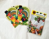 Vintage Thanksgiving lot of decor / turkey greeting cards / new old stock / NOS