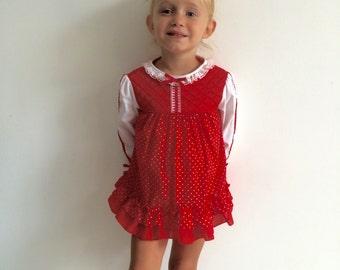Vintage 1970s Baby Girls swiss dot / polka dot FOLK edwardian victorian cottage chic dress