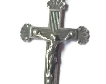 Vintage Sterling Cross Religious Pendant with Shell Ends on Black Satin Cord