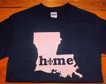 Louisiana Fleur De Lis Home Short Sleeved T-Shirt in Navy Blue and Pink/Lousiana Tee/Womens Louisiana Shirt/Louisiana Fleur De Lis Shirt