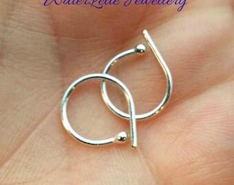 Tiny Silver Hoops - Sleeper hoops - second piercing hoops - Retainer hoops - Pure Silver hoops - multiple piercing - child hoops - man hoops