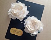 Mini Lace and Satin Rose Bobby Pin Set - Bobby pins - Hair Accessory - Wedding Hair Acccessories - Gift for Her - Fabric Flowers