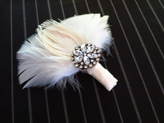 Peacock Feather Fan Boutonniere - Peacock Collection - Grooms Boutonniere - Groomsman Bout - Groomsmen - Fathers Bout - Page Boy