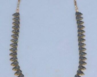 LAST ONE Vintage Textured Rhinestone Jewel Necklace,Black Diamond Smoke Grey Rhinestone Tennis Necklace,Mountain Top Jewel,Pear Teardrop