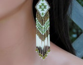 Seed Bead Quill Earrings - Porcupine Quill - 4.5 Inch Long Beaded Fringe Earrings - Olive Green & Matte Gold Beadwork - Unique OOAK
