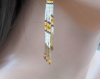Cascading Fringe Earrings - Beaded Beige, Bronze and Orange Tassel Earring - Long Seed Bead Earrings - Lightweight Boho Style