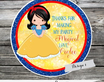 Set of 12 Personalized Favor Tags -Princess -Thank You Tag -Gift Tag -Baby Shower -Birthday-Sticker-Snow White -Snow White Birthday