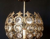 Vintage Hollywood Regency Brass & Crystal Hanging Lamp
