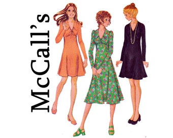 70s High Waisted V Neck Dress Midi Mini UNCUT Sewing Pattern Size 10 Bust 32 1/2 Dress in 3 Versions McCalls 2597 1970s Boho Chic