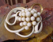 Vintage White Enamel Mod Golden Swirl Brooch