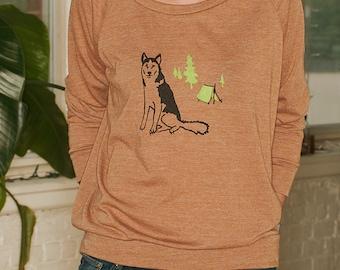 lets go camping Husky Shirt, Malamute, Camping Shirt, S,M,L,XL
