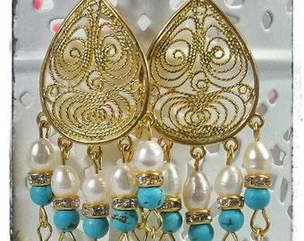 Boho Turquoise Howlite Freshwater Pearl GP Gold Filigree Clear Crystal Vintage Inspired Chandelier Earrings OOAK