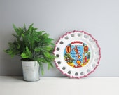Vintage Hawaii state souvenir plate - USA travel - plate wall decor - map of Hawaiian Islands and iconic images