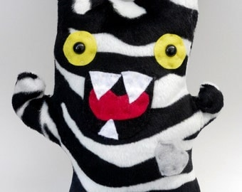 Zebra Monster Plush, Monster Stuffed Animal, Zebra Stripes, Monster Softie