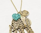 personalized elephant necklace, lucky symbol, boho jewelry, initial jewelry, safari, animal jewelry, heart jewelry, friend gift, christmas