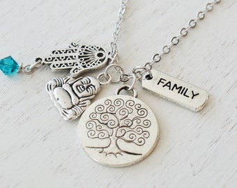 family tree of life necklace, hamsa hand jewelry, zen yoga jewelry, buddhism, christmas, friendship, sister gift, protection, bohemian gift
