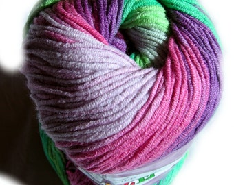 Cotton Baby Yarn: Light Weight, Alize Cotton Gold  Batik Design in pink, purple and green. col. 4147
