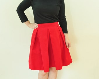 Red Twill Skirt with full, pleated skirt custom made to order also in Plus Size