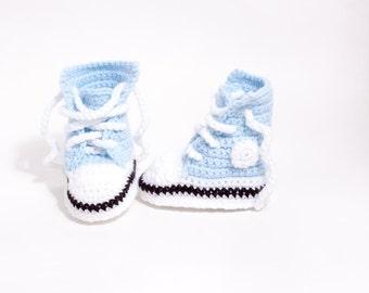 Crochet Converse Style Baby Booties, Crochet Baby Bootees, Crochet Baby High Tops, Crochet Shoes, Light Blue Baseball Shoes, 0-6 months