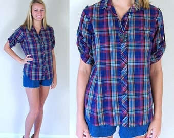 vtg 70s BLUE PLAID fold up sleeves SHIRT retro Large preppy indie retro hipster boho tee top