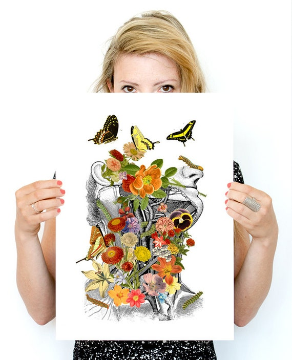 Springtime on me, white art  Print-Wall art. Human anatomy print-Chic Science prints wall art, flowers art SKA087WA3