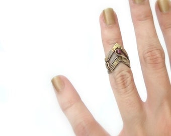 Brass Knuckle Ring -  Mid Finger Ring With Gemstone - Medieval Jewelry - Gothic Collection