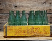 Antique Coca-Cola Red and Yellow Soda Crate with 24 Antique Coca-Cola Bottles