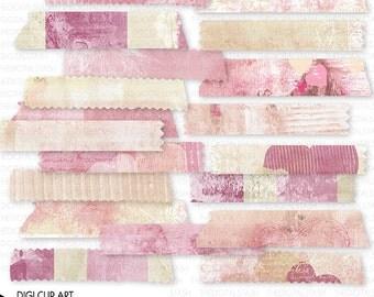 Digital Valentine Washi Tape - Textured Collage - 19 Piece Artsy Clip Art - INSTANT DOWNLOAD - for Cards, Scrap, Journal, Collage, Crafts