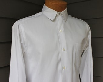 vintage 1950's Men's -custom- stud collar dress shirt. Sheer White - Tone-on-tone twill stripe. French cuff. All Cotton. Medium 15 1/2 x 36