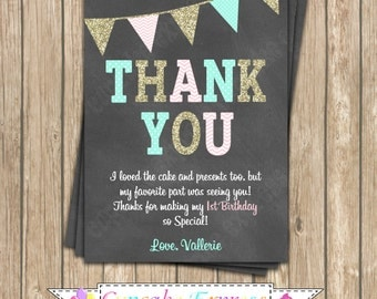 One First Birthday girl coral pink  mint gold PRINTABLE chalkboard Thank You Card  #11  chevron polka dot glitter 1st birthday - 1031