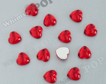 Smooth Cherry Red Acrylic Heart Loose Rhinestones, Heart Flatback Rhinestones, Heart Rhinestone Cabochon, 11mm x 12mm (R8-084)