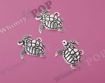 Tortoise Turtle Little Turtle Silver Tone Alloy Tibetan Silver Charms, Turtle Charm, Tortoise Charm, 20mm x 17mm (R8-174)